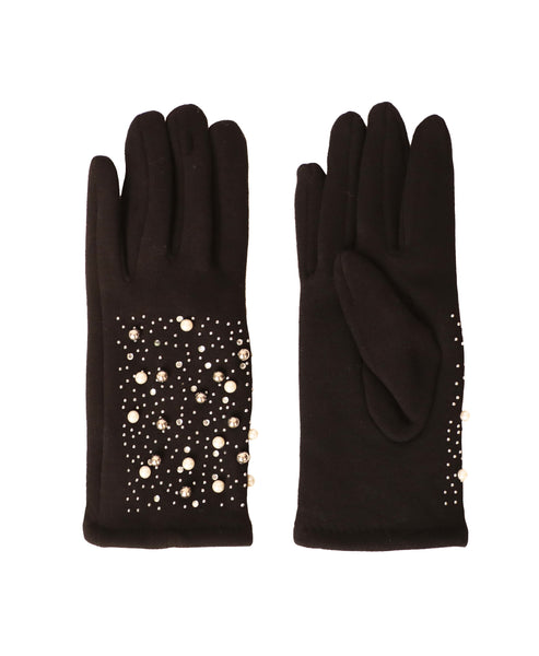 Gloves w/ Pearls, Crystals & Studs - Fox's