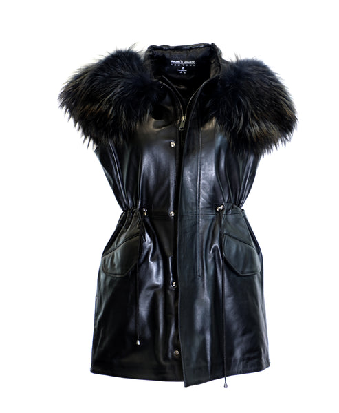 Zoom view for Leather Vest w/ Raccoon Fur