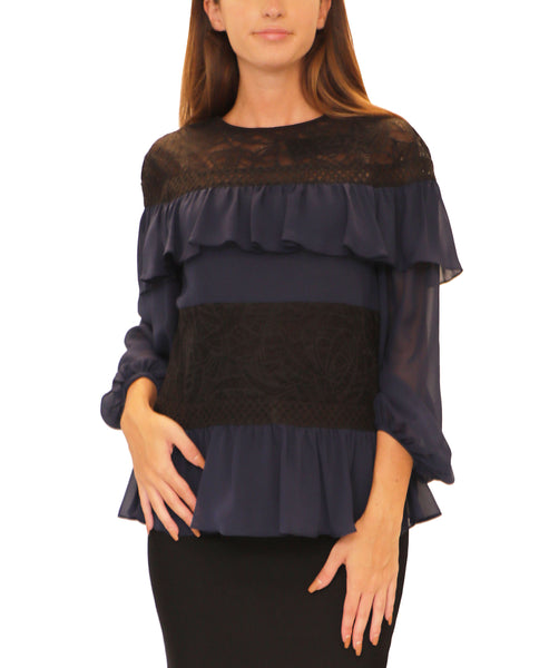 Ruffle Blouse w/ Lace - Fox's