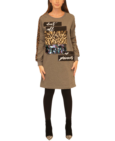 Tunic Top w/ Leopard Faux Fur & Paillettes - Fox's