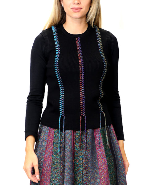Zoom view for Multicolor Lurex Braided Sweater Vest