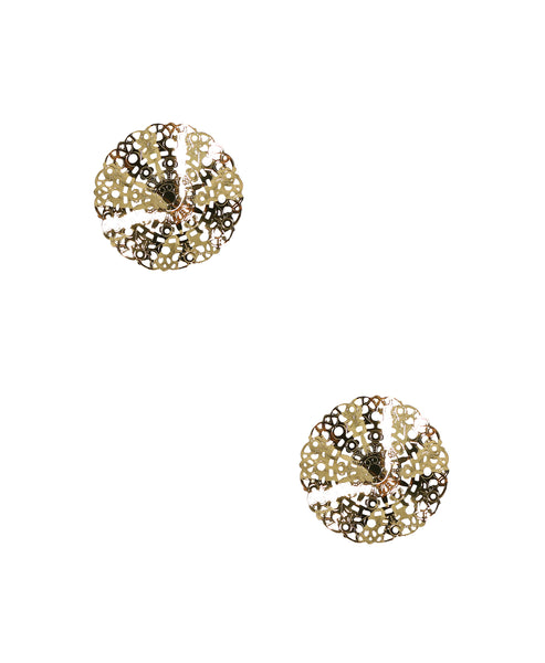Zoom view for Small Wavy Disc Stud Earrings