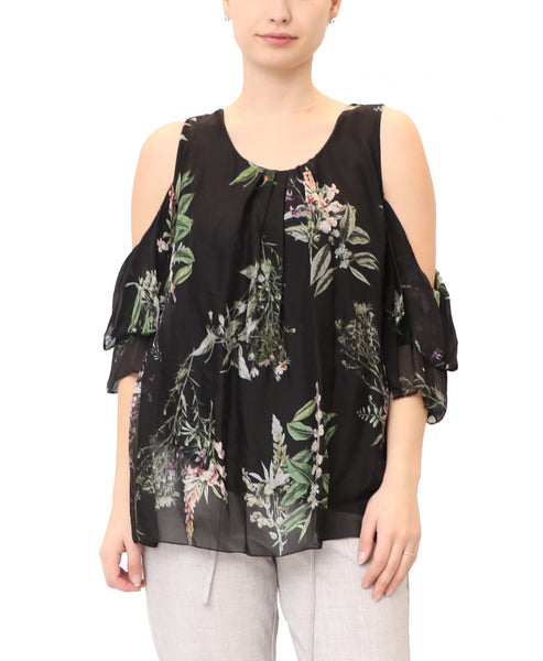 Silk Floral Print Cold Shoulder Top
