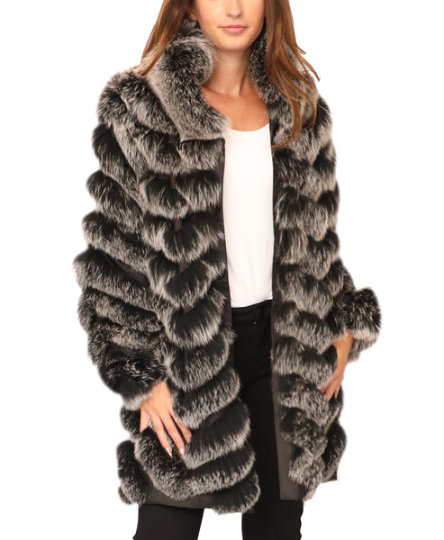 Reversible Fox Fur/Silk Coat