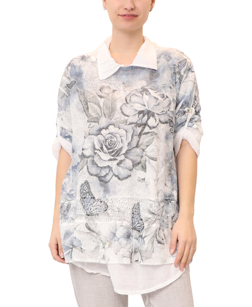 Rose & Butterfly Print Top - 2 Pc. Set