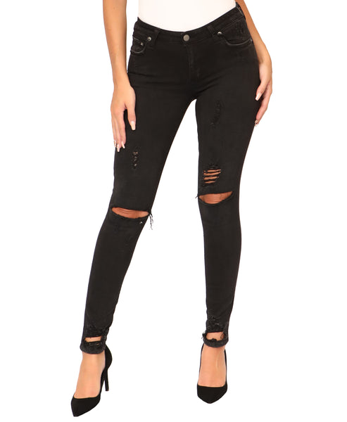 """Ricky"" Distressed Mid-Rise Skinny Jeans"