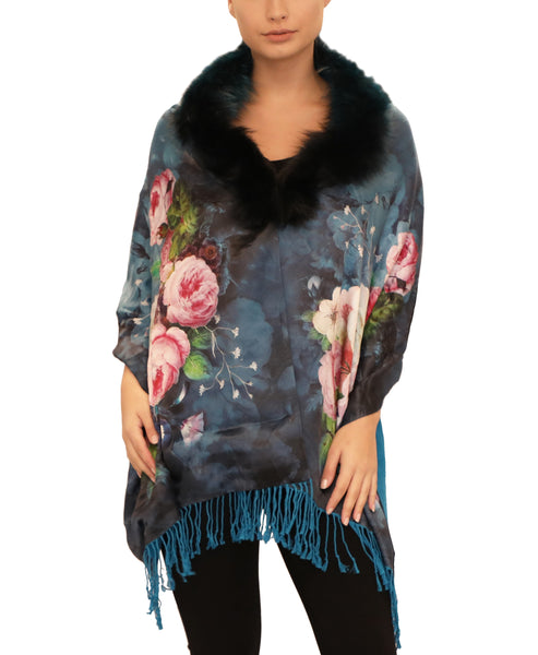 Silk Reversible Shawl w/ Fox Fur Collar