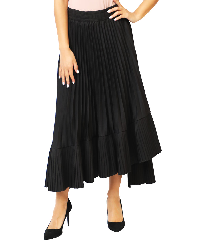 Pleated Asymmetrical Hem Skirt