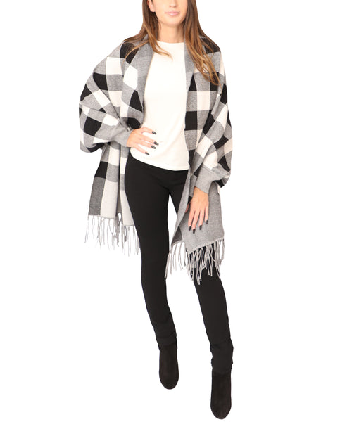 Checkered Cardigan Sweater Wrap - Fox's