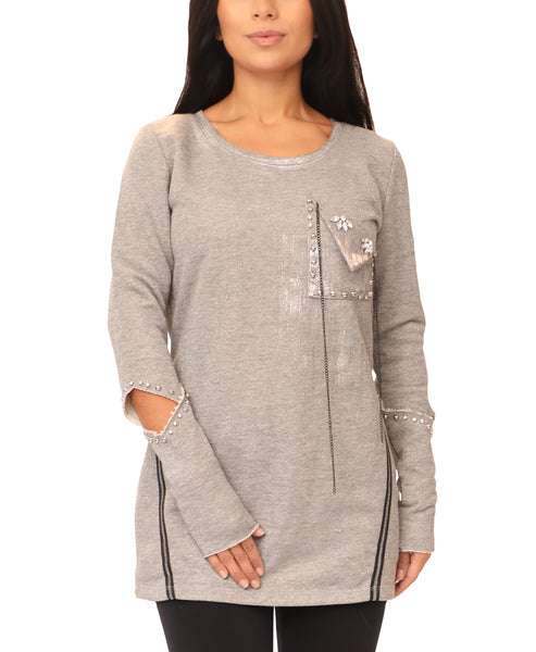 Shimmer Sweatshirt w/ Crystals & Chain - Fox's