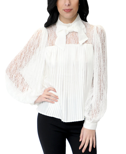 Zoom view for Lace & Pleated Blouse