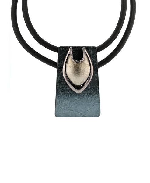 Zoom view for Double Strand Collar Necklace w/ Abstract Pendant