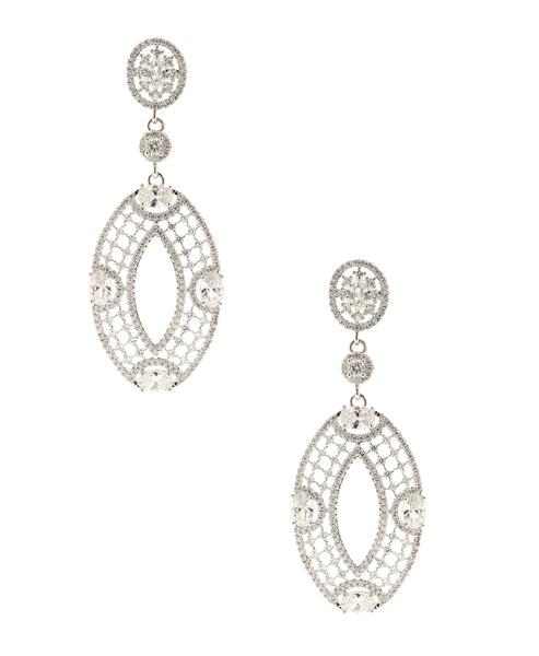 Cubic Zirconia Oval Dangle Earrings - Fox's