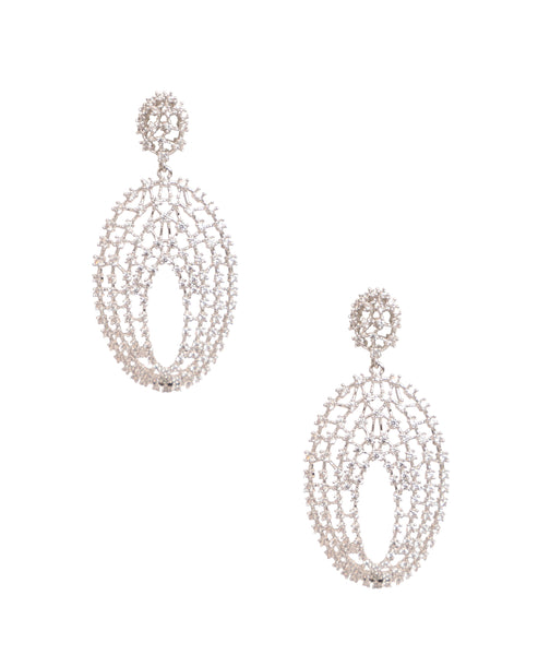 Cubic Zirconia Oval Dangle Earrings