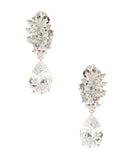 Cubic Zirconia Cluster Clip On Earrings