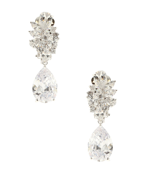 Cubic Zirconia Cluster Clip On Earrings - Fox's