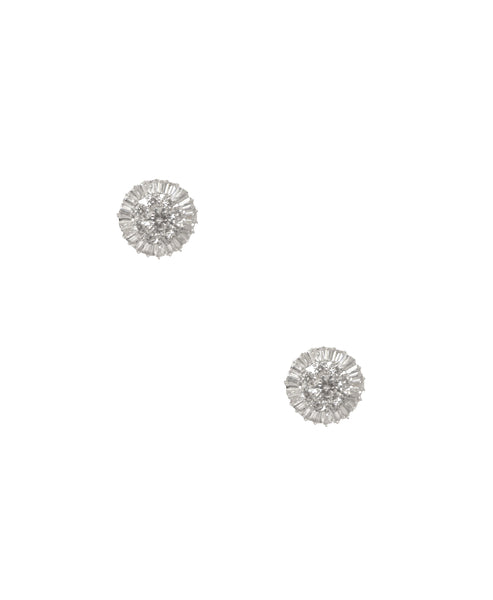 Cubic Zirconia Round Halo Clip On Earrings
