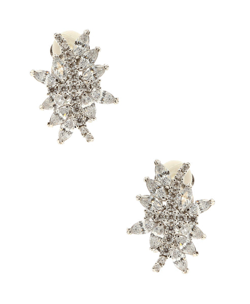 Zoom view for Cubic Zirconia Cluster Clip On Earrings