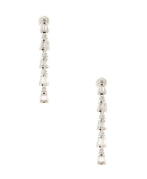 Zoom view for Cubic Zirconia Baguette Cut Earrings