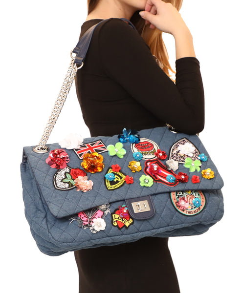 Quilted Denim Handbag w/ Patches & Sequin Flowers