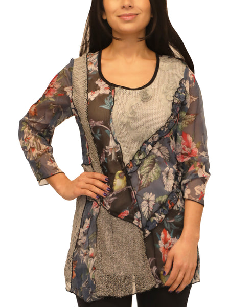 Zoom view for Mixed Media Tunic Top