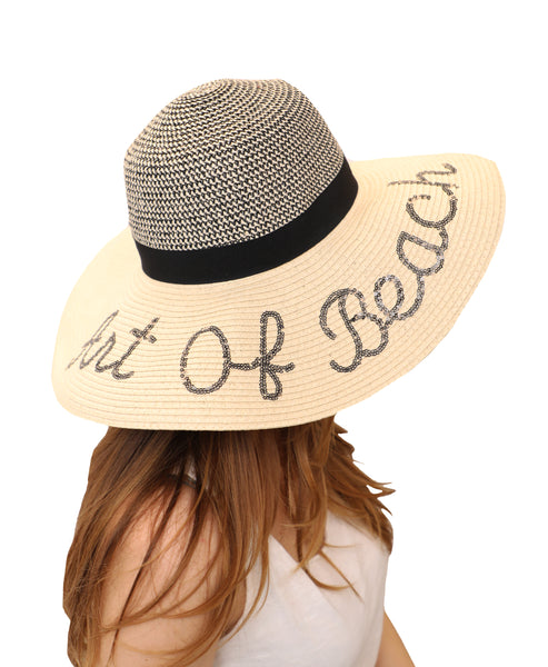 "Floppy Straw Hat ""Art of Beach"""