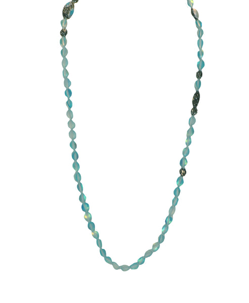 Glass Beaded Necklace w/ Crystal Accents