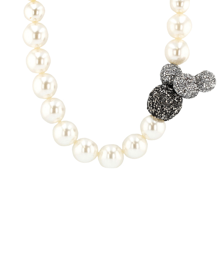 Glass Pearl Collar Necklace w/ Crystal Baubles