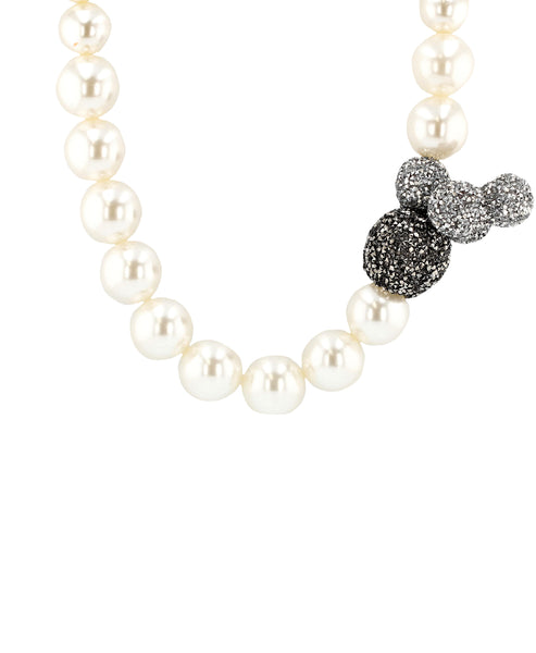 Zoom view for Glass Pearl Collar Necklace w/ Crystal Baubles