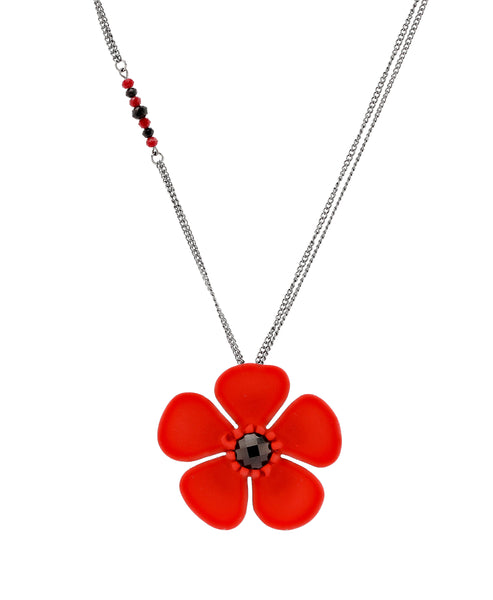 Zoom view for Long Necklace w/ Large Poppy Flower