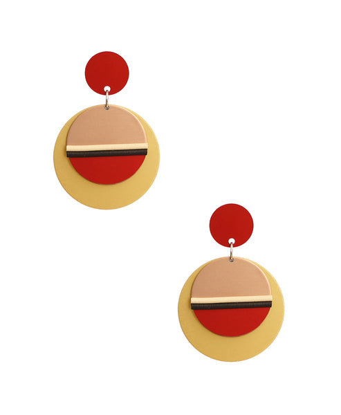 Zoom view for Colorblock Disc Earrings - Fox's