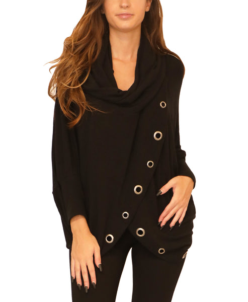 Cowl Neck Tunic w/ Grommets - Fox's