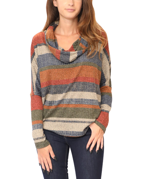 Cowl Neck Striped Top w/ Lace-Up Back - Fox's