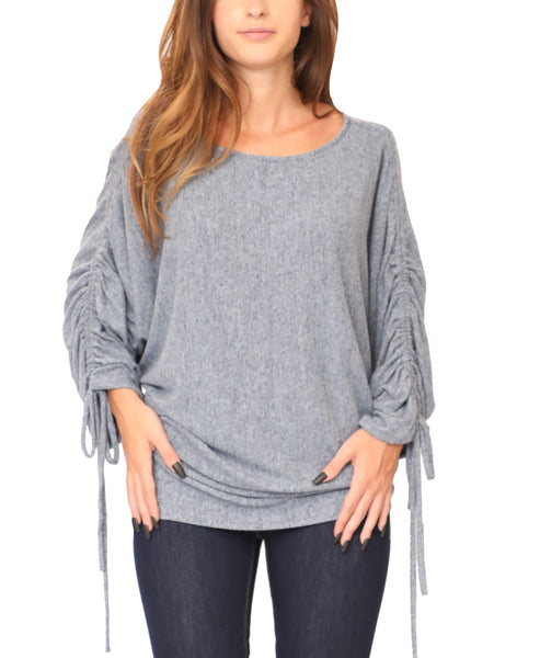 Sweater w/ Ruched Dolman Sleeves