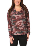 Cowl Neck Camo Top w/ Lace-Up Back - Fox's