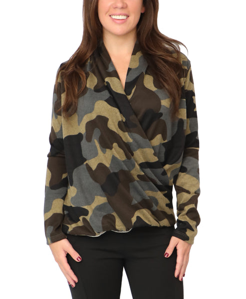 Camo Draped Front Lightweight Knit Sweater - Fox's