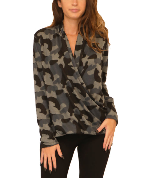 Camo Draped Front Lightweight Knit Sweater