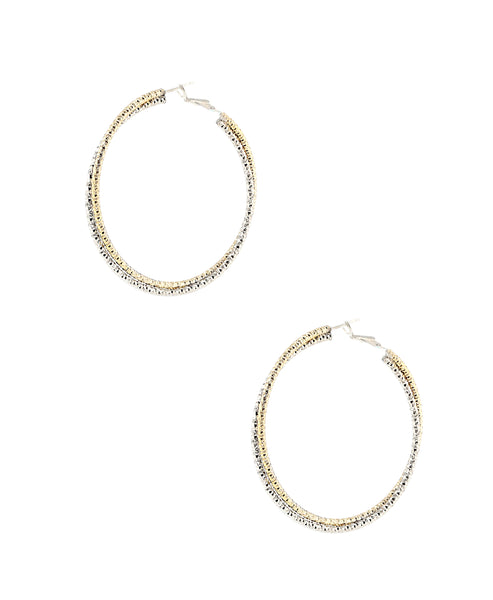 Zoom view for Crossover Two-Tone Hoop Earrings