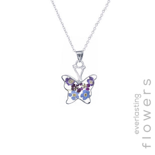 Pressed Flower Butterfly Necklace