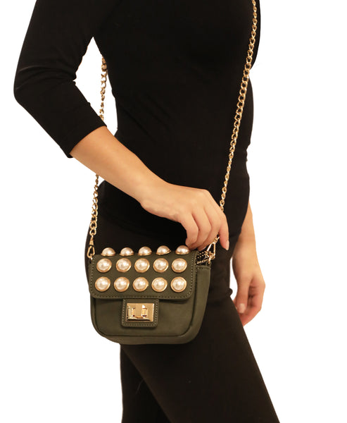 Mini Handbag w/ Pearls and Chain Strap