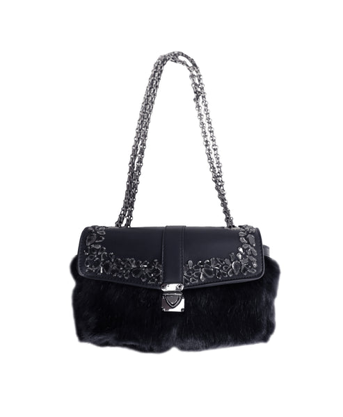 Faux Fur Handbag w/ Chain Strap & Embellishments