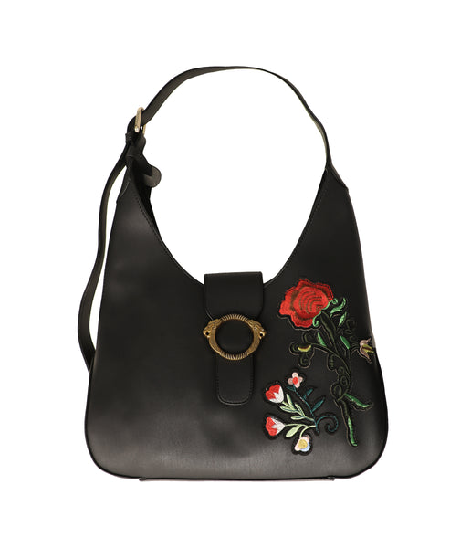 Hobo Handbag w/ Floral Patches