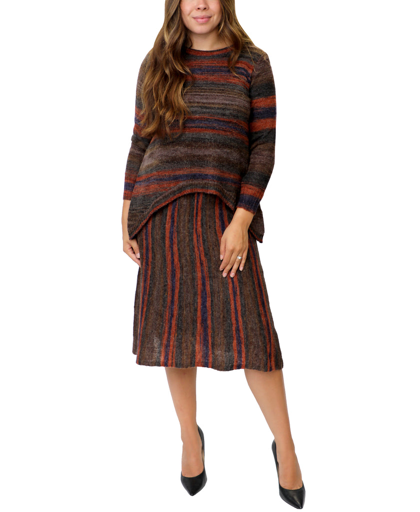 A-Line Stripe Knit Skirt