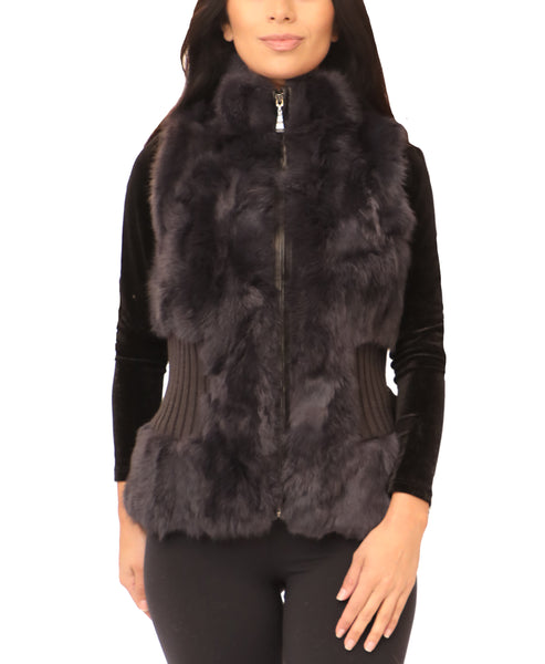 Fur Vest w/ Knit Waist - Fox's