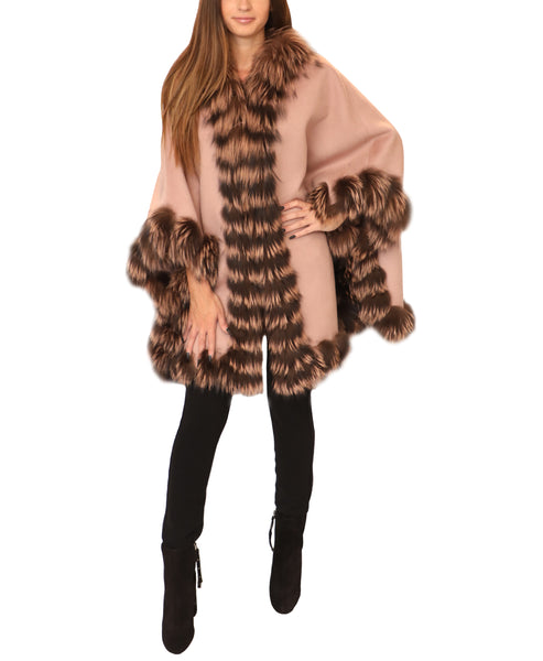 Double Faced Wool Cape w/ Silver Fox Fur Trim
