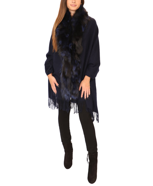 Wool/Cashmere Wrap w/ Silver Fox Fur Trim