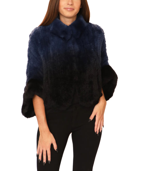 Knitted Rex Rabbit Ombre Capelet