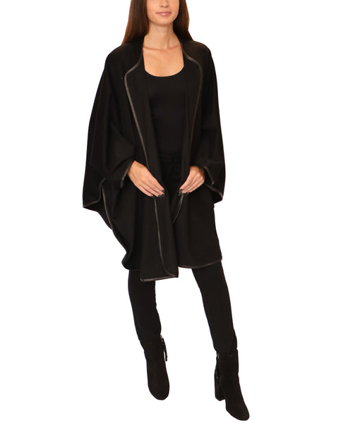 Cashmere Cape w/ Leather Trim