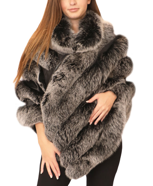 Fox Fur Poncho w/ Leather Insets - Fox's
