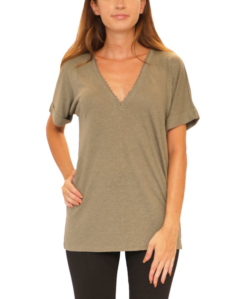 V-Neck Tee w/ Lace Trim